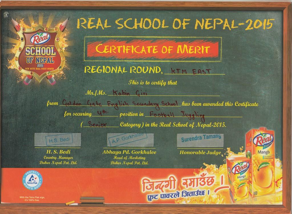 Kabin Giri Real Certificate