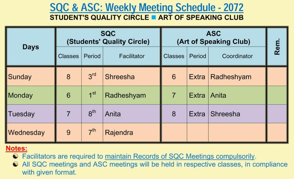 SQC & ASC Schedules - 2072